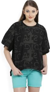 e6d31e1144b4 Adidas Self Design Women s Round Neck Black T Shirt Best Price in ...