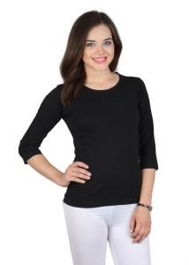 SayItLoud Solid Women's Round Neck Black T-Shirt