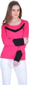 Vivid Bharti Solid Women's Round Neck Pink T-Shirt