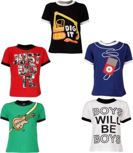 cf048b7ea0e Gkidz Boys Printed T Shirt Multicolor Pack of 5 Best Price in India ...