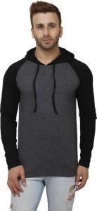 Sayitloud Solid Men's Hooded Black, Black T-Shirt