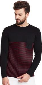 Hypernation Striped Men's Round Neck Black, Red T-Shirt
