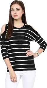 Hypernation Casual 3/4th Sleeve Striped Women's Black Top