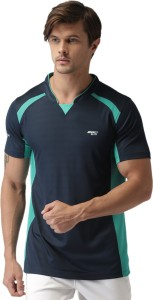 2Go Solid Men's Mandarin Collar Blue T-Shirt