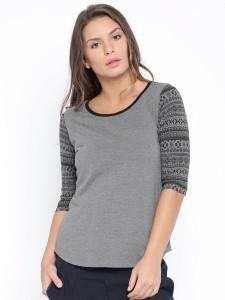 Cult Fiction Solid Women's Scoop Neck Grey T-Shirt
