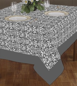 Airwill Damask 2 Seater Table Cover & Airwill Damask 2 Seater Table Cover Grey Cotton Best Price in India ...