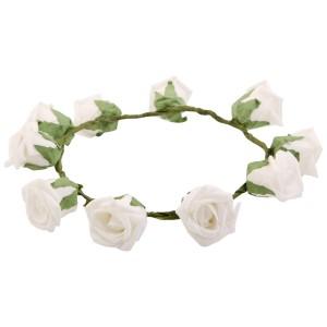 Sanjog Rose Green Leaf Gorgeous Flower Tiara Crown Small Head Band