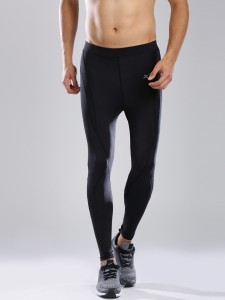 8d3d3ad987 HRX by Hrithik Roshan Solid Women's Black Tights