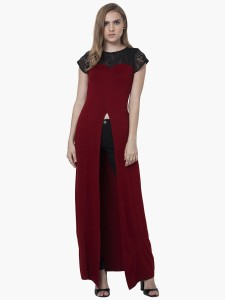 de7e4e42b87 FabAlley Casual Cap Sleeve Solid Women s Red Top Best Price in India ...