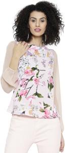Sassafras Casual Full Sleeve Floral Print Women's Pink, Beige Top