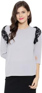 Sassafras Casual 3/4th Sleeve Solid Women's Grey, Black Top