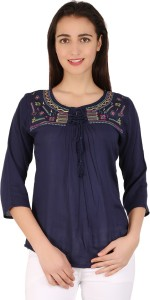BuyNewTrend Casual 3/4th Sleeve Embroidered Women's Dark Blue Top