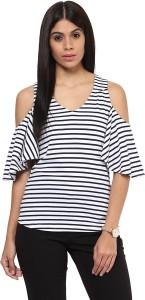 Hypernation Casual Bell Sleeve Striped Women's Blue, White Top