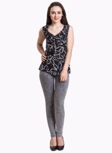 4ca46ec002858e Iralzo Casual Sleeveless Printed Women s Black Top Best Price in ...