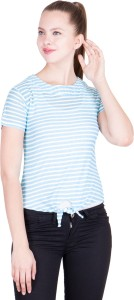 khhalisi Casual Short Sleeve Striped Women's Blue, White Top