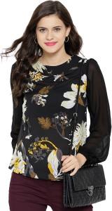 Sassafras Casual Full Sleeve Floral Print Women's Black Top