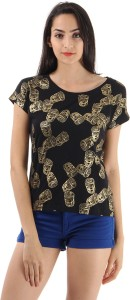 Only Casual Short Sleeve Printed Women's Black Top