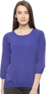 Vvoguish Casual 3/4th Sleeve Solid Women's Blue Top