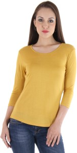 Vvoguish Casual 3/4th Sleeve Solid Women's Yellow Top