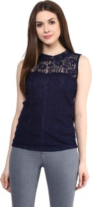 Mayra Party Sleeveless Solid Women's Blue Top