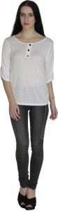 Svt Ada Collections Casual 3/4th Sleeve Solid Women's White Top