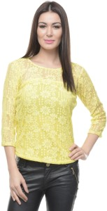 Mayra Casual 3/4th Sleeve Solid Women's Yellow Top