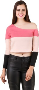 Texco Casual Full Sleeve Solid Women's Pink, Black Top