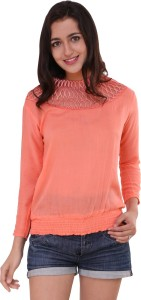 BuyNewTrend Casual 3/4th Sleeve Solid Women's Orange Top