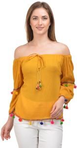 Raabta Fashion Casual Full Sleeve Solid Women's Yellow Top
