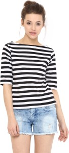 Miss Chase Casual Short Sleeve Striped Women's Black, White Top