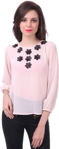 Sassafras Casual 3/4th Sleeve Solid Women's Pink Top