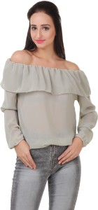 Big Pout Casual Full Sleeve Solid Women's Grey Top