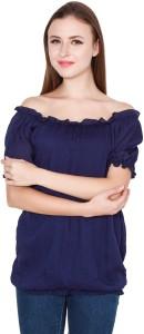 TeeMoods Casual Puff Sleeve Solid Women's Dark Blue Top
