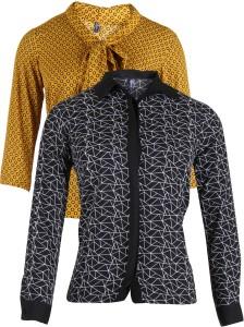 Vvoguish Casual 3/4th Sleeve Geometric Print Women's Black, Orange Top