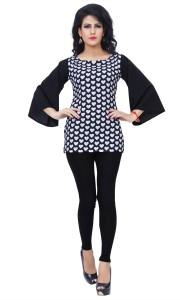 Ziyaa Casual 3/4th Sleeve Printed Women's Black Top