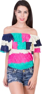Khhalisi Party Cap Sleeve Printed Women's Multicolor Top