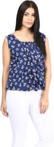 Mayra Casual Sleeveless Printed Women's Dark Blue Top