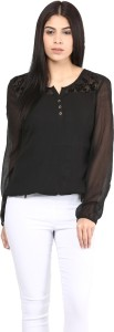 Mayra Casual Full Sleeve Solid Women's Black Top