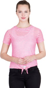 khhalisi Casual Short Sleeve Striped Women's Pink, White Top