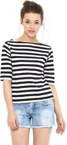 YUKON Casual 3/4th Sleeve Striped Women's White Top
