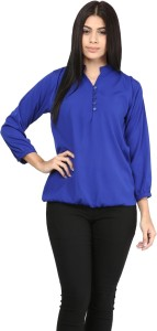 Mayra Casual 3/4th Sleeve Solid Women's Blue Top