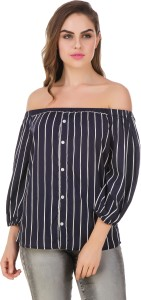 BrandMeUp Party 3/4th Sleeve Striped Women's Blue Top