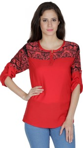 Mayra Party 3/4th Sleeve Printed Women's Red Top