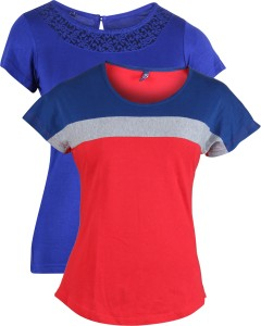 Vvoguish Casual 3/4th Sleeve Solid Women's Multicolor Top