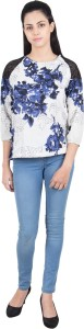 G & M Collections Party 3/4th Sleeve Floral Print Women's Multicolor Top