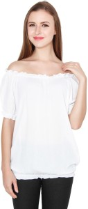 TeeMoods Casual Puff Sleeve Solid Women's White Top