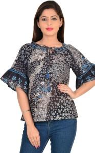 9teenAGAIN Casual Short Sleeve Printed Women's Black Top