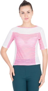 khhalisi Casual Short Sleeve Printed Women's Pink, White Top