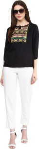 Mayra Party 3/4th Sleeve Solid Women's Black Top