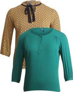 Vvoguish Casual 3/4th Sleeve Printed Women's Yellow, Green Top